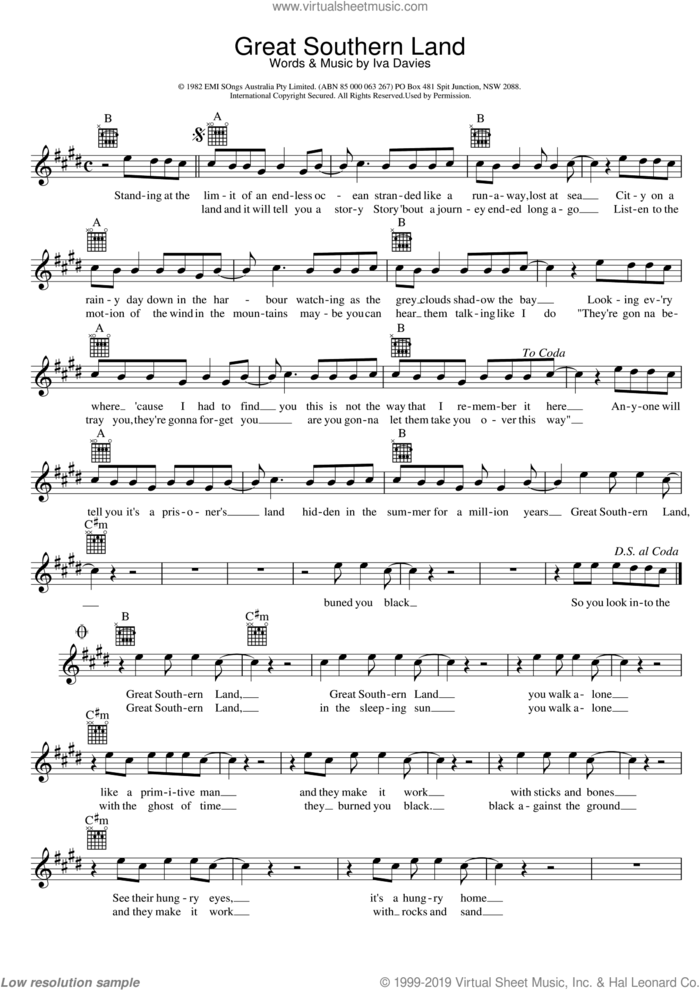 Great Southern Land sheet music for voice and other instruments (fake book) by Icehouse and Iva Davies, intermediate skill level