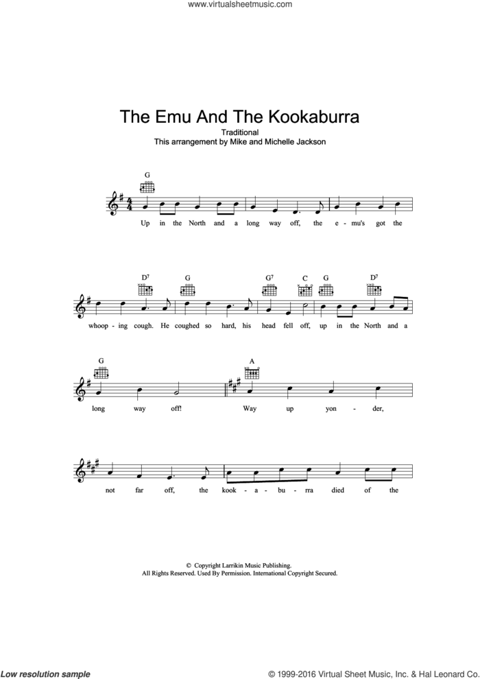 The Emu And The Kookaburra sheet music for voice and other instruments (fake book), intermediate skill level
