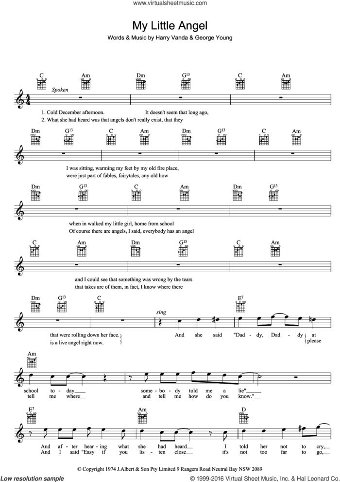My Little Angel sheet music for voice and other instruments (fake book) by William Shakespeare, George Young and Harry Vanda, intermediate skill level