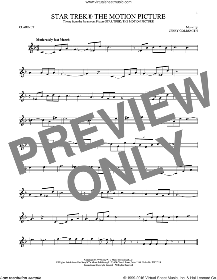 Star Trek The Motion Picture sheet music for clarinet solo by Jerry Goldsmith, classical score, intermediate skill level