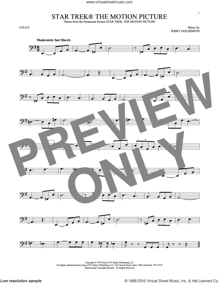 Star Trek The Motion Picture sheet music for cello solo by Jerry Goldsmith, intermediate skill level