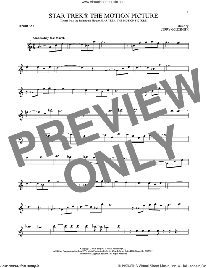Star Trek The Motion Picture sheet music for tenor saxophone solo by Jerry Goldsmith, classical score, intermediate skill level