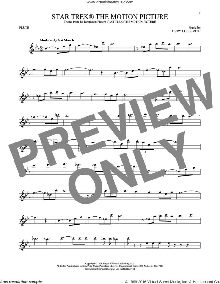 Star Trek The Motion Picture sheet music for flute solo by Jerry Goldsmith, classical score, intermediate skill level