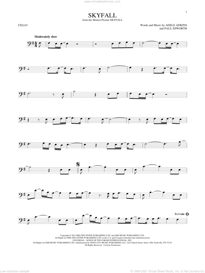 Skyfall sheet music for cello solo by Adele, Adele Adkins and Paul Epworth, intermediate skill level