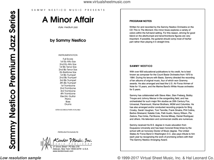 A Minor Affair (COMPLETE) sheet music for jazz band by Sammy Nestico, intermediate skill level