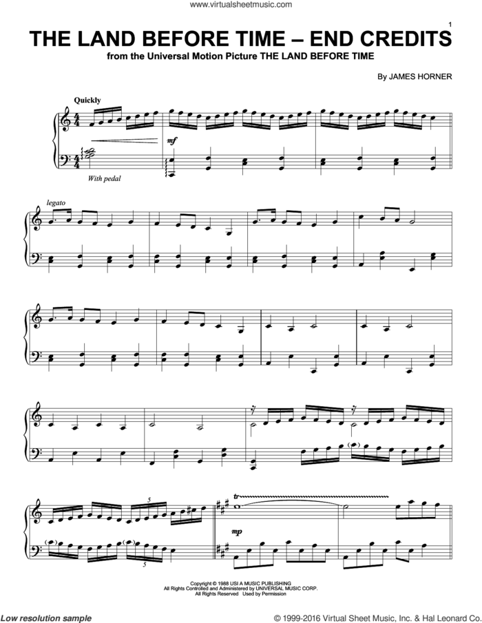 The Land Before Time - End Credits sheet music for piano solo by James Horner, intermediate skill level
