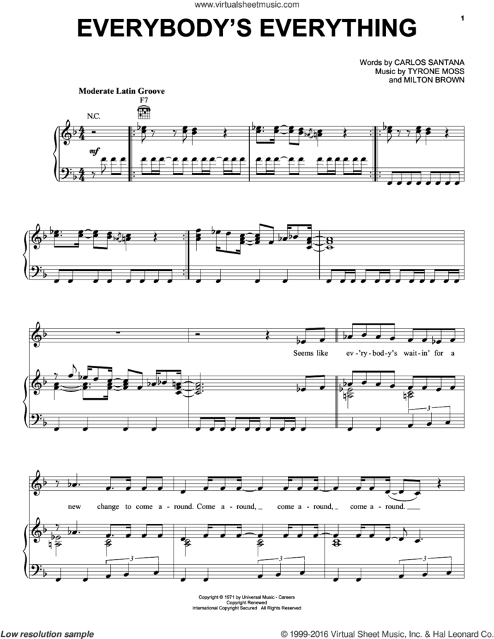 Everybody's Everything sheet music for voice, piano or guitar by Carlos Santana, Milton Brown and Tyrone Moss, intermediate skill level