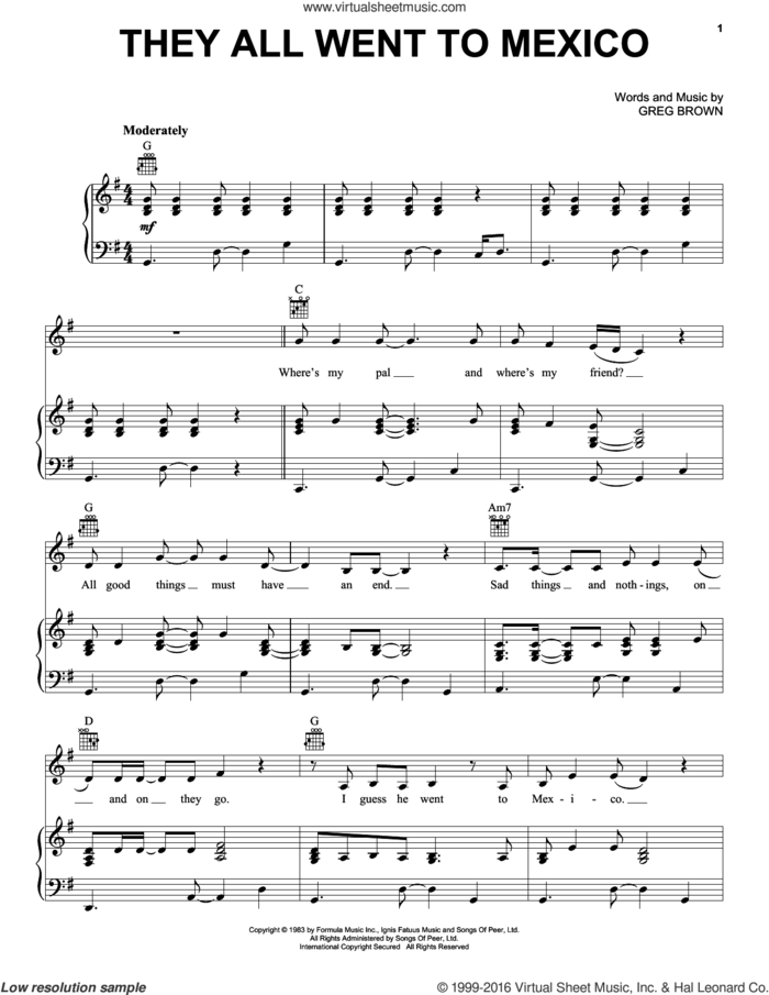 They All Went To Mexico sheet music for voice, piano or guitar by Carlos Santana and Greg Brown, intermediate skill level