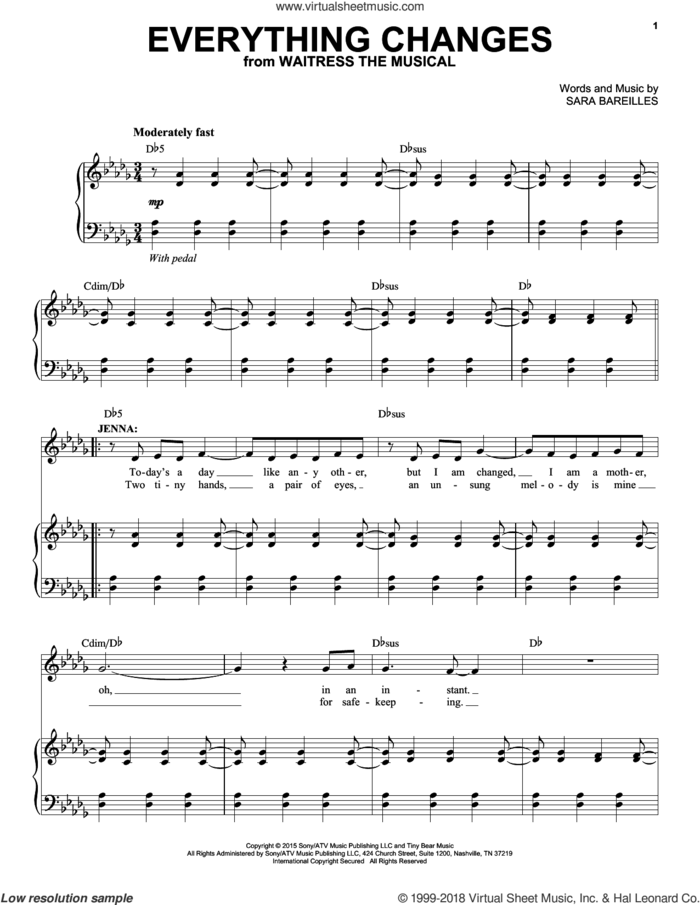 Everything Changes (from Waitress The Musical) sheet music for voice and piano by Sara Bareilles, intermediate skill level