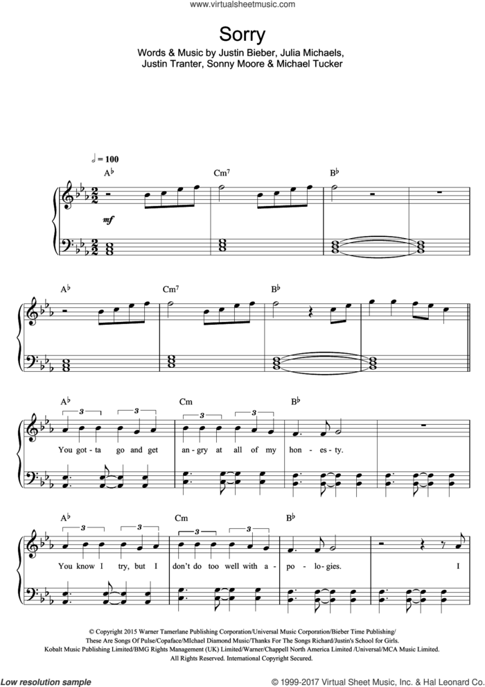 Sorry sheet music for piano solo by Justin Bieber, Julia Michaels, Justin Tranter, Michael Tucker and Sonny Moore, easy skill level