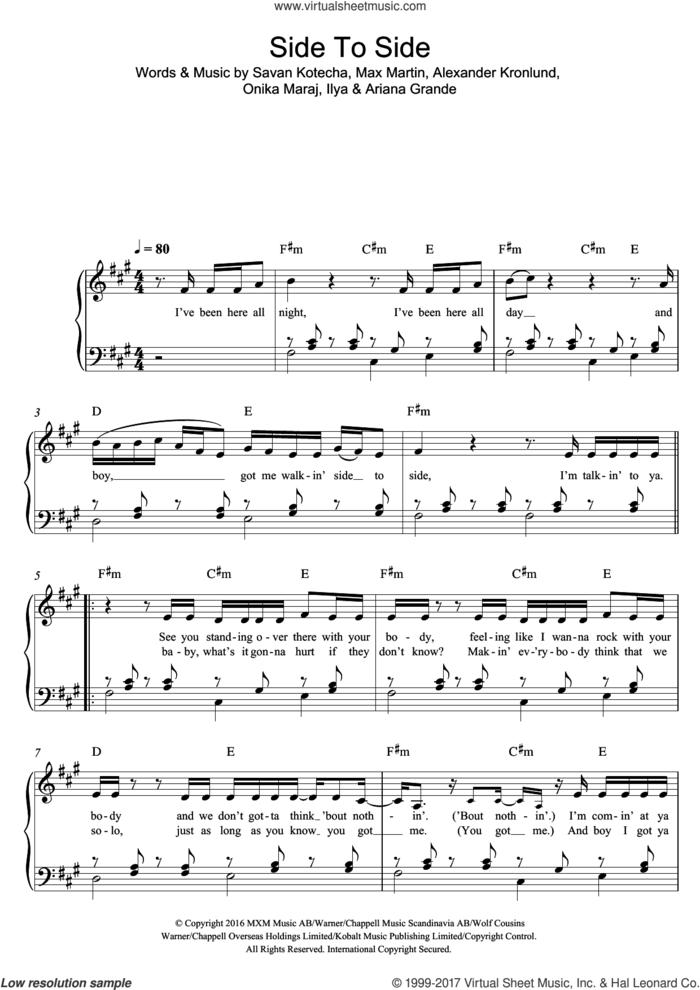 Side To Side (feat. Nicki Minaj) sheet music for piano solo by Ariana Grande, Ariana Grande feat. Nicki Minaj, Nicki Minaj, Alexander Kronlund, Ilya, Max Martin, Onika Maraj and Savan Kotecha, easy skill level