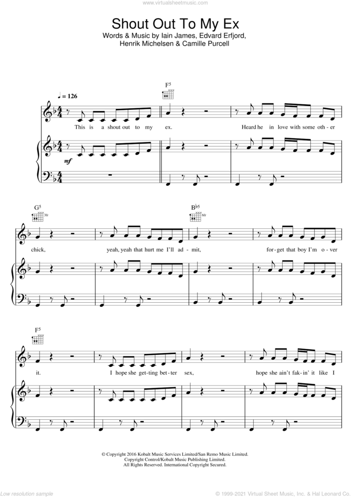 Shout Out To My Ex sheet music for voice, piano or guitar by Little Mix, Camille Purcell, Edvard Erfjord, Henrik Michelsen and Iain James, intermediate skill level