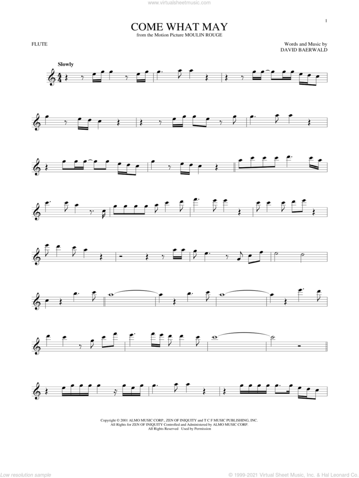 Come What May (from Moulin Rouge) sheet music for flute solo by Nicole Kidman & Ewan McGregor, Nicole Kidman and Ewan McGregor and David Baerwald, intermediate skill level