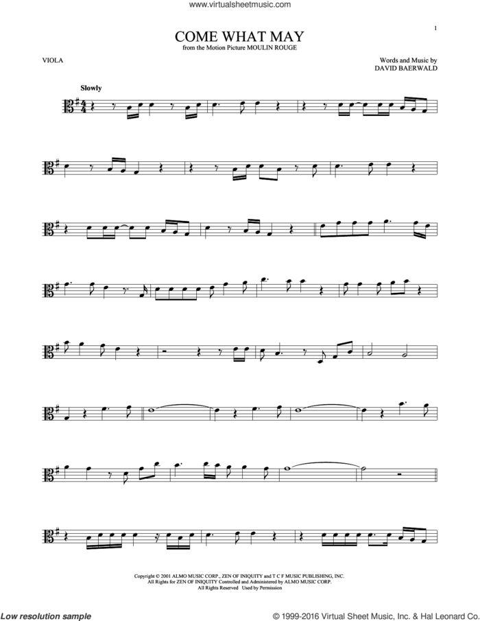 Come What May (from Moulin Rouge) sheet music for viola solo by Nicole Kidman & Ewan McGregor, Nicole Kidman and Ewan McGregor and David Baerwald, intermediate skill level