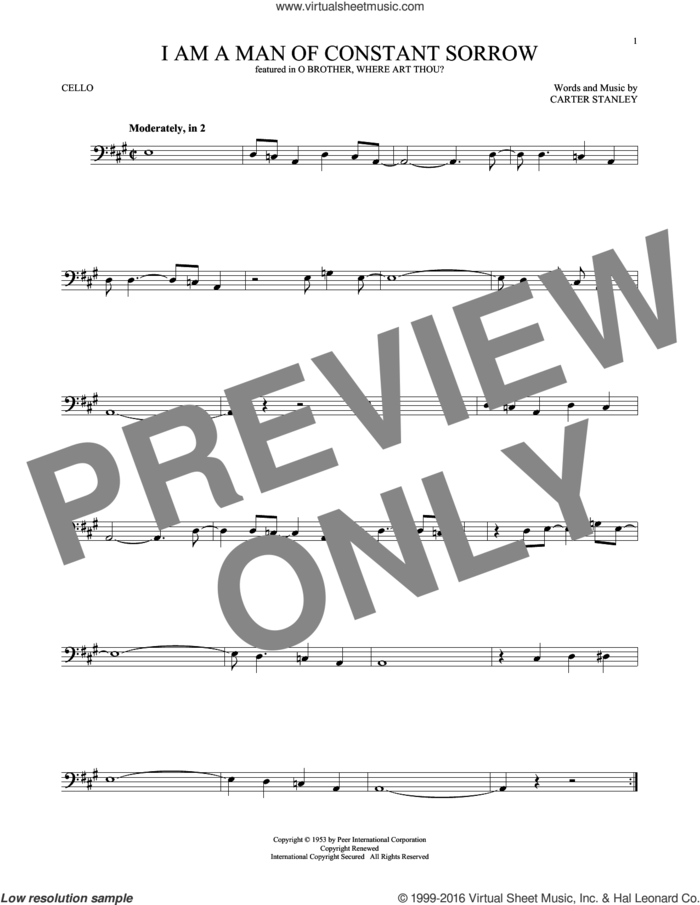 I Am A Man Of Constant Sorrow sheet music for cello solo by Carter Stanley, Charm City Devils and The Soggy Bottom Boys, intermediate skill level