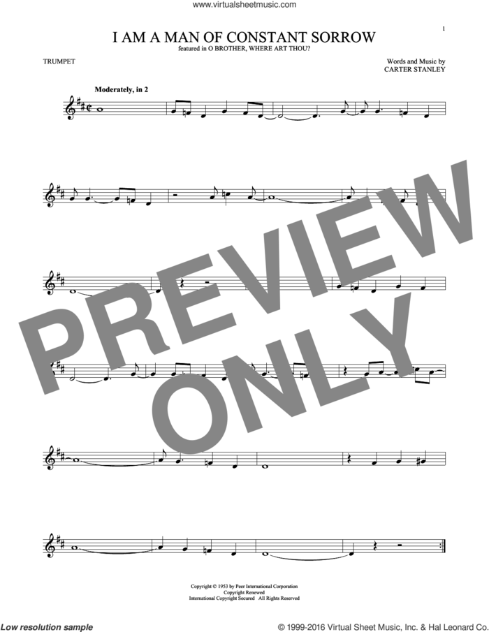 I Am A Man Of Constant Sorrow sheet music for trumpet solo by Carter Stanley, Charm City Devils and The Soggy Bottom Boys, intermediate skill level