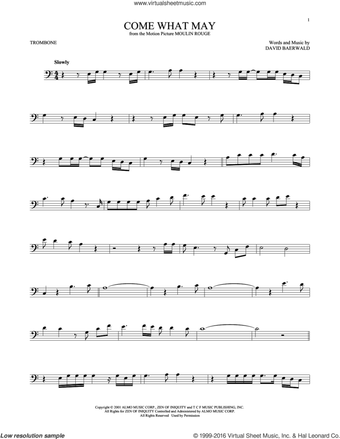 Come What May (from Moulin Rouge) sheet music for trombone solo by Nicole Kidman & Ewan McGregor, Nicole Kidman and Ewan McGregor and David Baerwald, intermediate skill level