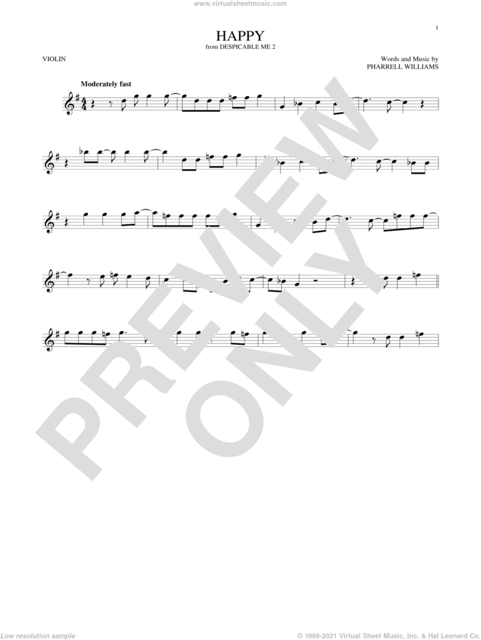 Happy sheet music for violin solo by Pharrell and Pharrell Williams, intermediate skill level