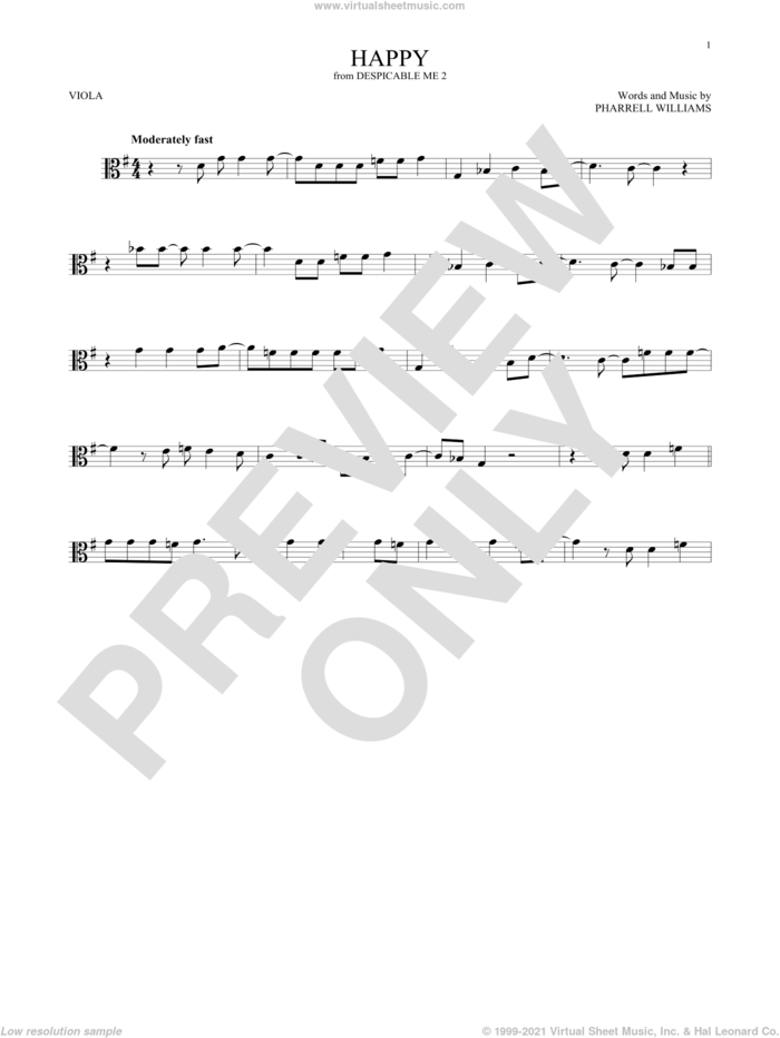 Happy sheet music for viola solo by Pharrell and Pharrell Williams, intermediate skill level