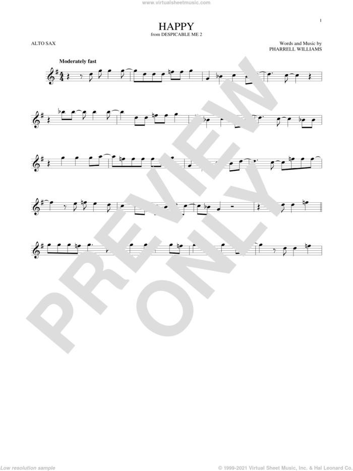 Happy sheet music for alto saxophone solo by Pharrell and Pharrell Williams, intermediate skill level