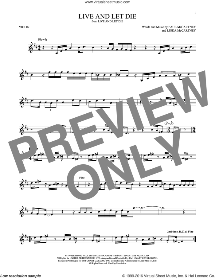 Live And Let Die sheet music for violin solo by Wings, Linda McCartney and Paul McCartney, intermediate skill level