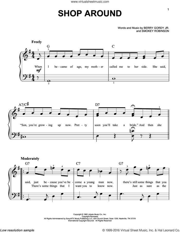Shop Around sheet music for piano solo by The Captain & Tennille and Berry Gordy Jr., easy skill level