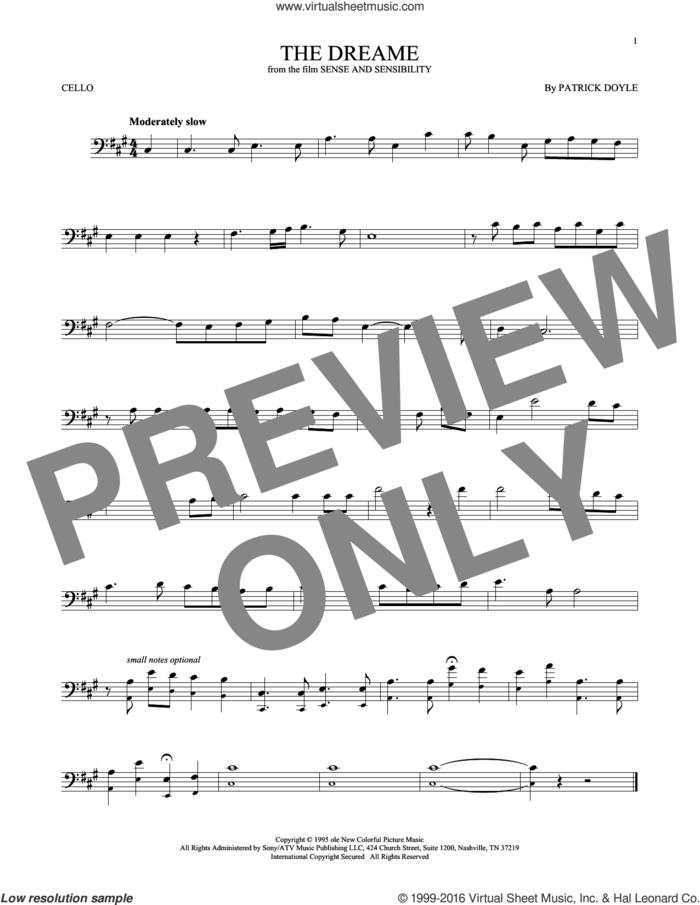 The Dreame sheet music for cello solo by Patrick Doyle, intermediate skill level