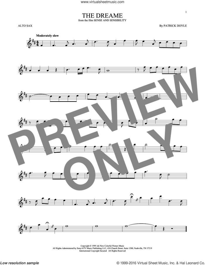 The Dreame sheet music for alto saxophone solo by Patrick Doyle, intermediate skill level