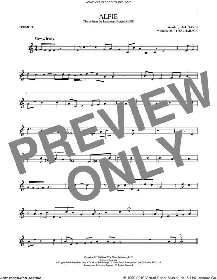 Alfie sheet music for trumpet solo by Dionne Warwick, Cher, Miscellaneous, Sonny Rollins, Stevie Wonder, Burt Bacharach and Hal David, intermediate skill level