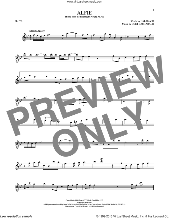 Alfie sheet music for flute solo by Dionne Warwick, Cher, Miscellaneous, Sonny Rollins, Stevie Wonder, Burt Bacharach and Hal David, intermediate skill level