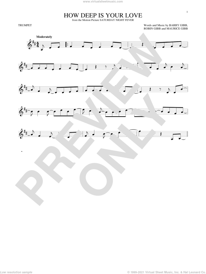 How Deep Is Your Love sheet music for trumpet solo by Barry Gibb, Bee Gees, Maurice Gibb and Robin Gibb, intermediate skill level