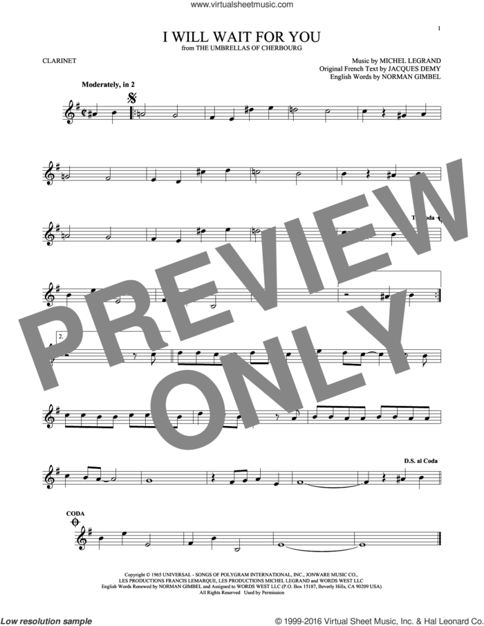 I Will Wait For You sheet music for clarinet solo by Michel Legrand, Jacques Demy and Norman Gimbel, intermediate skill level