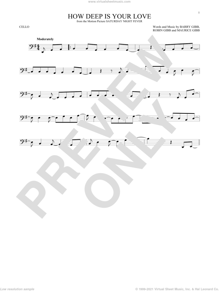 How Deep Is Your Love sheet music for cello solo by Barry Gibb, Bee Gees, Maurice Gibb and Robin Gibb, intermediate skill level