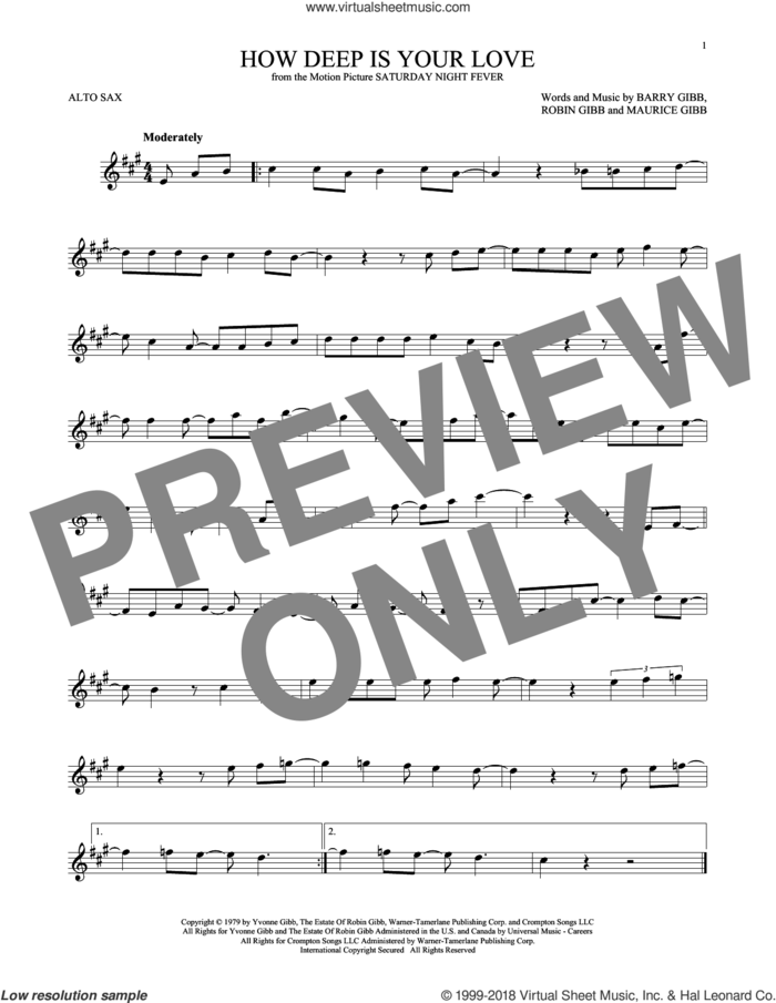 How Deep Is Your Love sheet music for alto saxophone solo by Barry Gibb, Bee Gees, Maurice Gibb and Robin Gibb, intermediate skill level