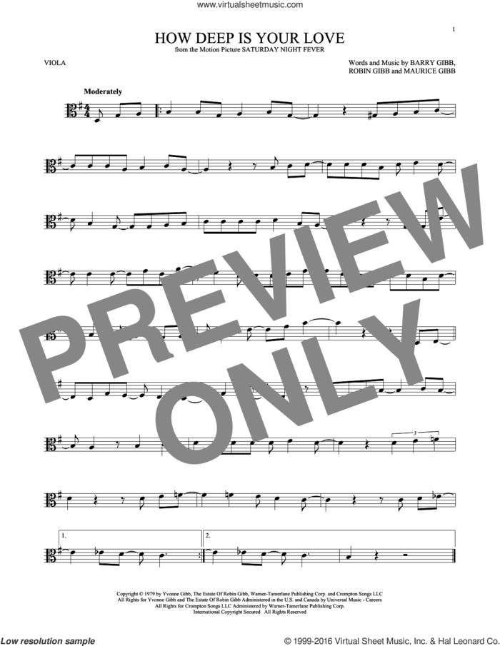 How Deep Is Your Love sheet music for viola solo by Barry Gibb, Bee Gees, Maurice Gibb and Robin Gibb, intermediate skill level