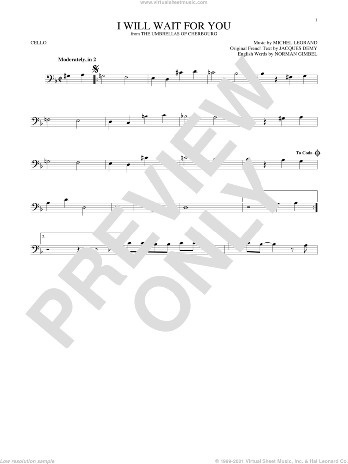 I Will Wait For You sheet music for cello solo by Michel Legrand, Jacques Demy and Norman Gimbel, intermediate skill level