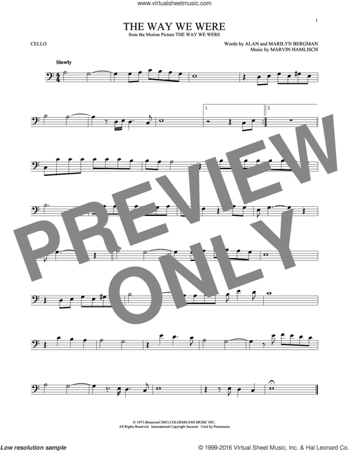 The Way We Were sheet music for cello solo by Barbra Streisand, Alan Bergman, Marilyn Bergman and Marvin Hamlisch, intermediate skill level