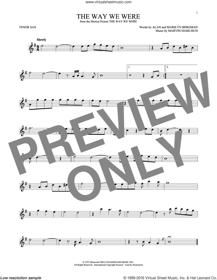 The Way We Were sheet music for tenor saxophone solo by Barbra Streisand, Alan Bergman, Marilyn Bergman and Marvin Hamlisch, intermediate skill level