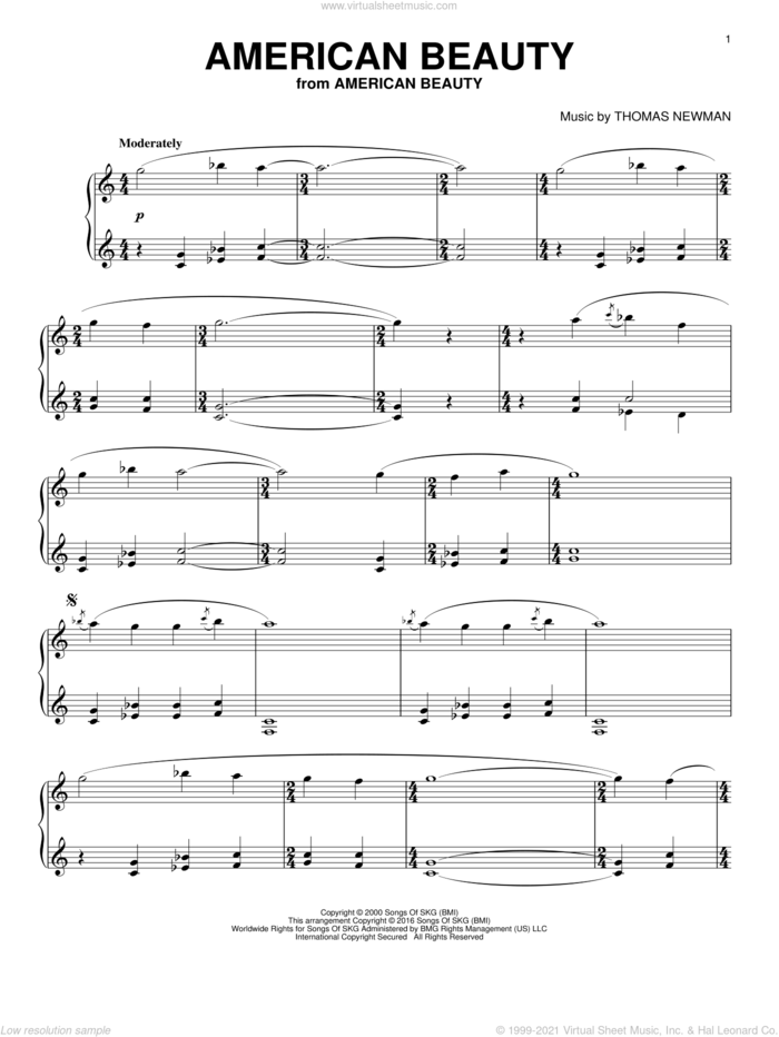 American Beauty sheet music for piano solo by Thomas Newman, intermediate skill level