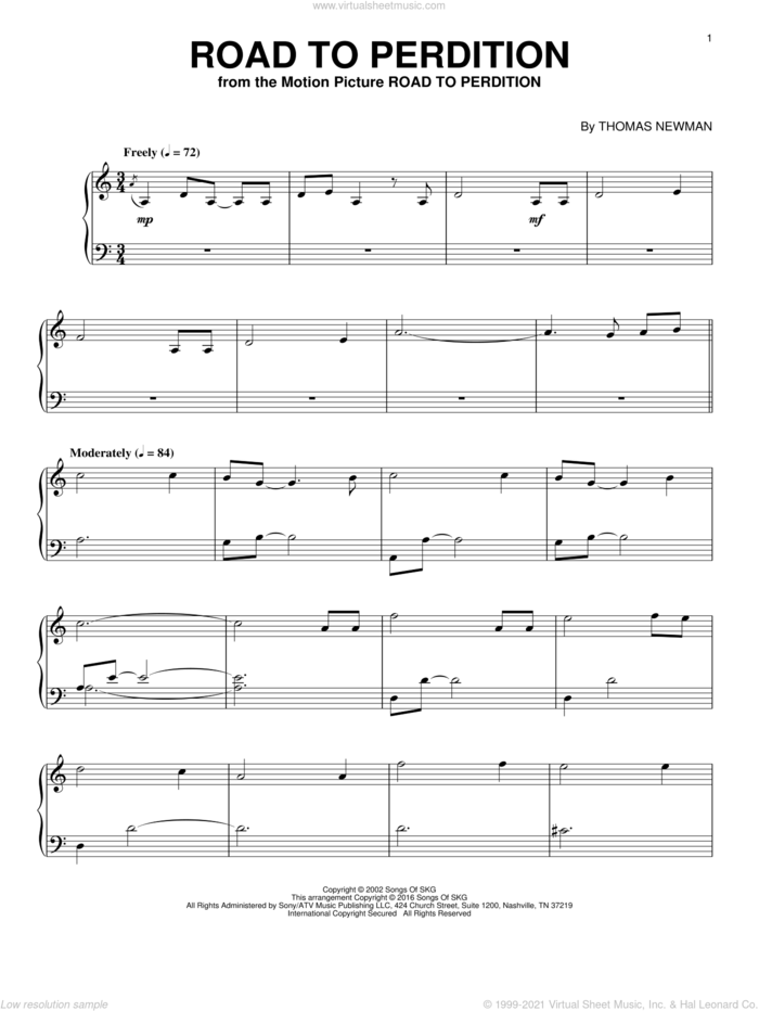 Road To Perdition sheet music for piano solo by Thomas Newman, intermediate skill level