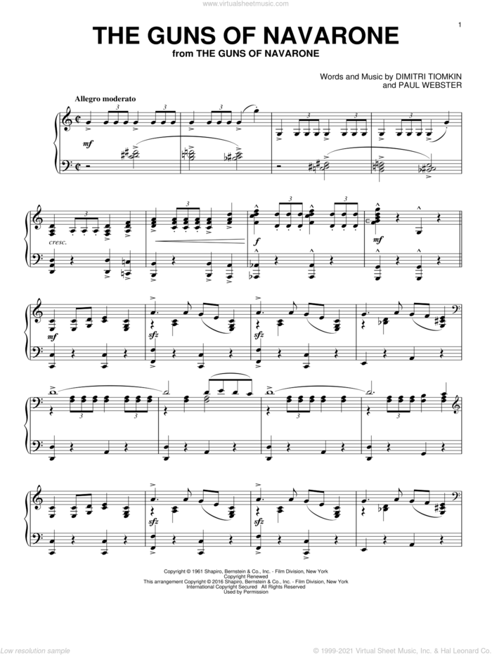 The Guns Of Navarone sheet music for piano solo by Dimitri Tiomkin and Paul Francis Webster, intermediate skill level