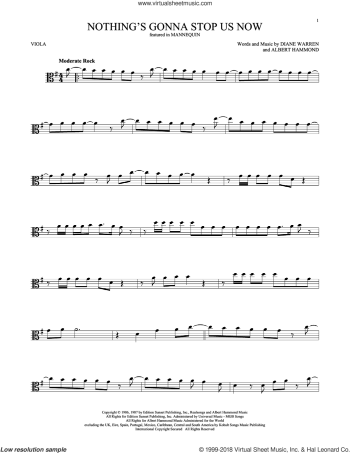 Nothing's Gonna Stop Us Now sheet music for viola solo by Starship, Albert Hammond and Diane Warren, wedding score, intermediate skill level