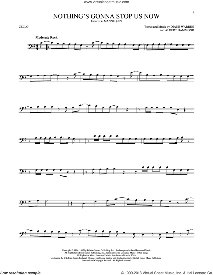 Nothing's Gonna Stop Us Now sheet music for cello solo by Starship, Albert Hammond and Diane Warren, wedding score, intermediate skill level