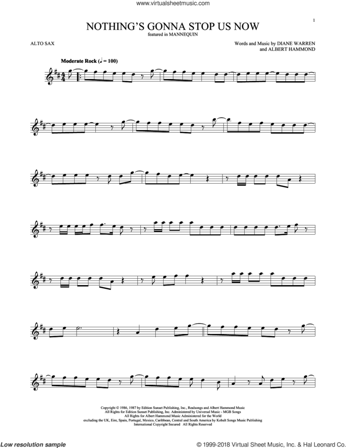 Nothing's Gonna Stop Us Now sheet music for alto saxophone solo by Starship, Albert Hammond and Diane Warren, wedding score, intermediate skill level