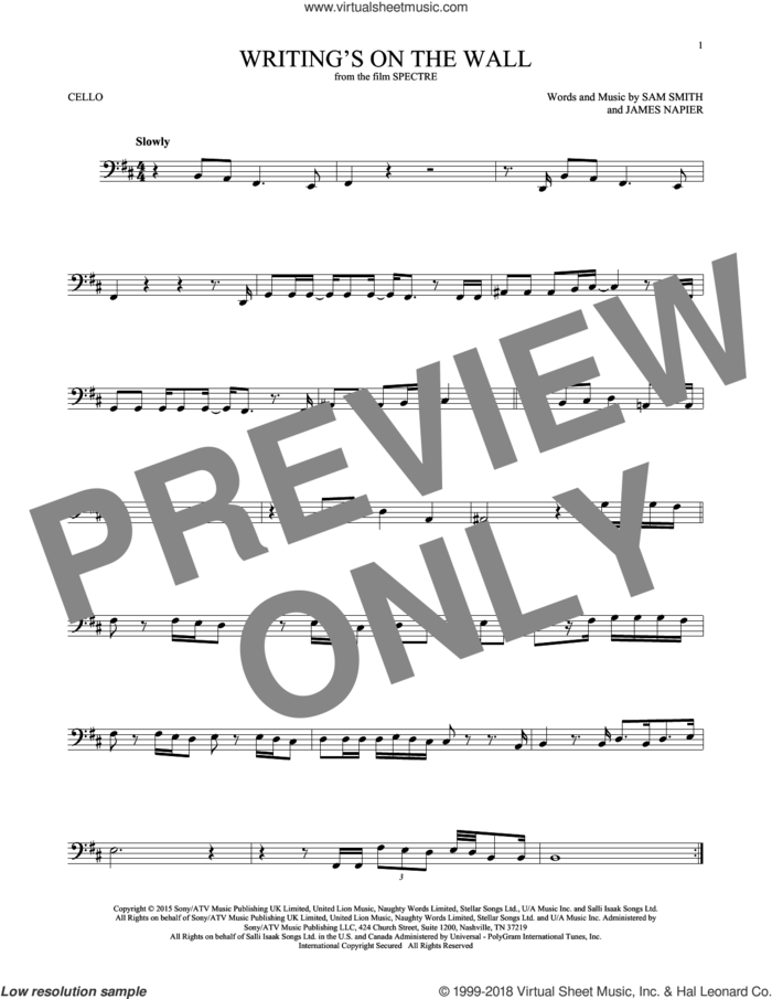 Writing's On The Wall sheet music for cello solo by Sam Smith and James Napier, intermediate skill level