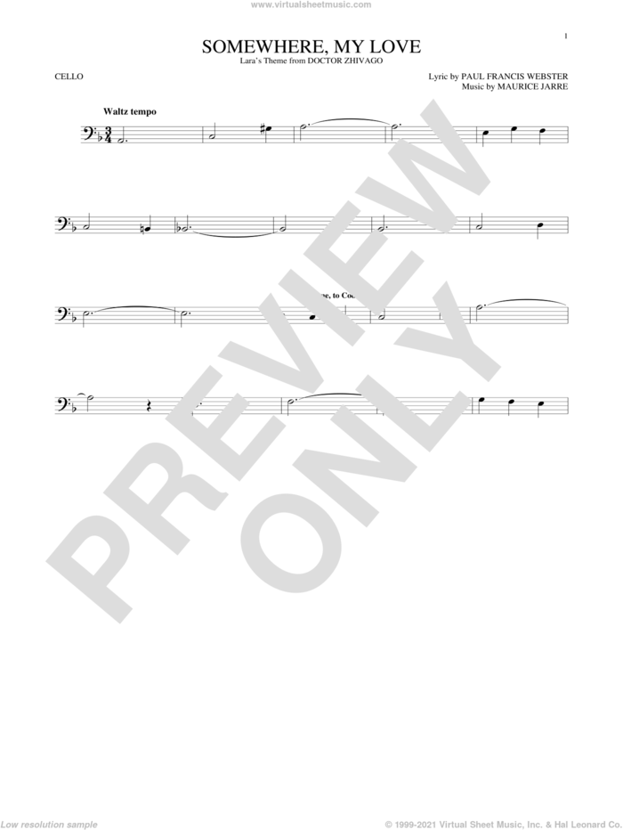 Somewhere, My Love sheet music for cello solo by Paul Francis Webster and Maurice Jarre, intermediate skill level
