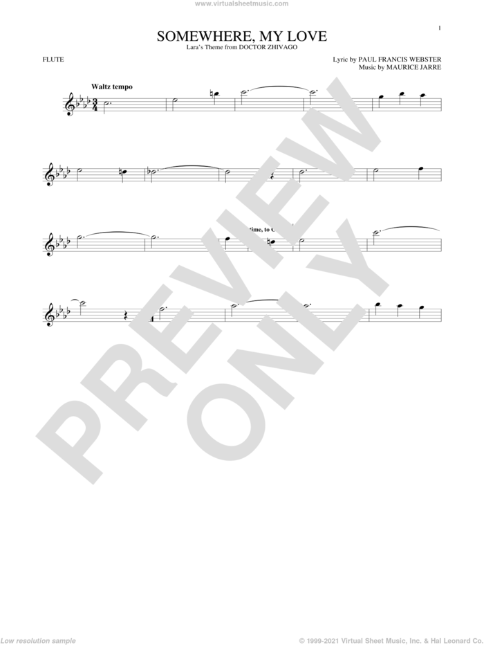 Somewhere, My Love sheet music for flute solo by Paul Francis Webster and Maurice Jarre, intermediate skill level