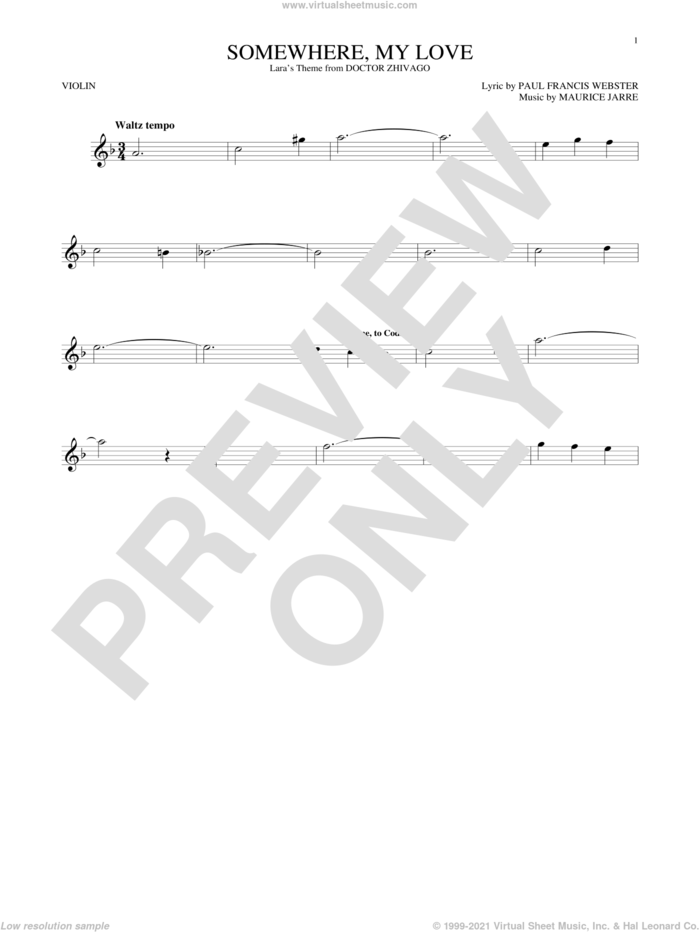 Somewhere, My Love sheet music for violin solo by Paul Francis Webster and Maurice Jarre, intermediate skill level