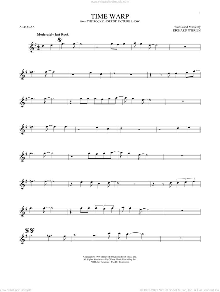 Time Warp sheet music for alto saxophone solo by Richard O'Brien, intermediate skill level