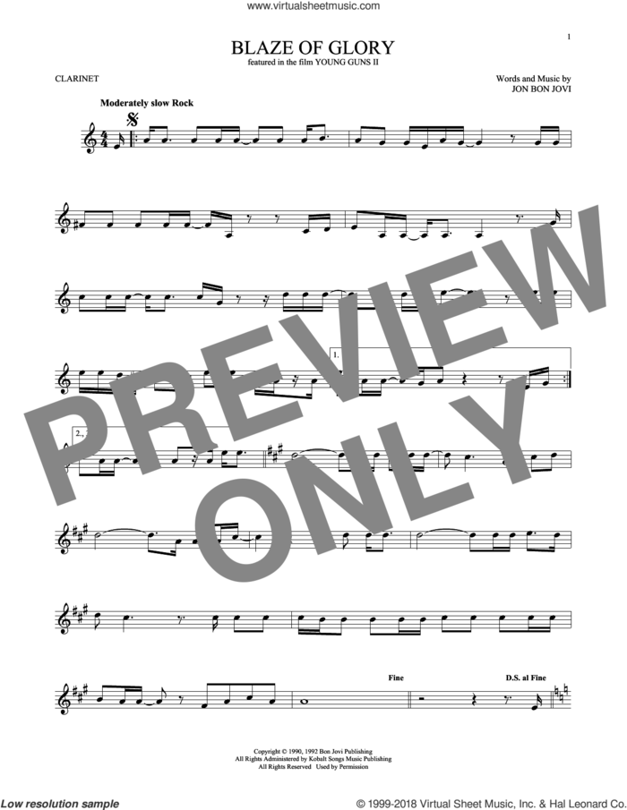 Blaze Of Glory sheet music for clarinet solo by Bon Jovi, intermediate skill level
